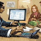 Banker at Computer with couple handing over large sum of cash, presumable for their mortgage
